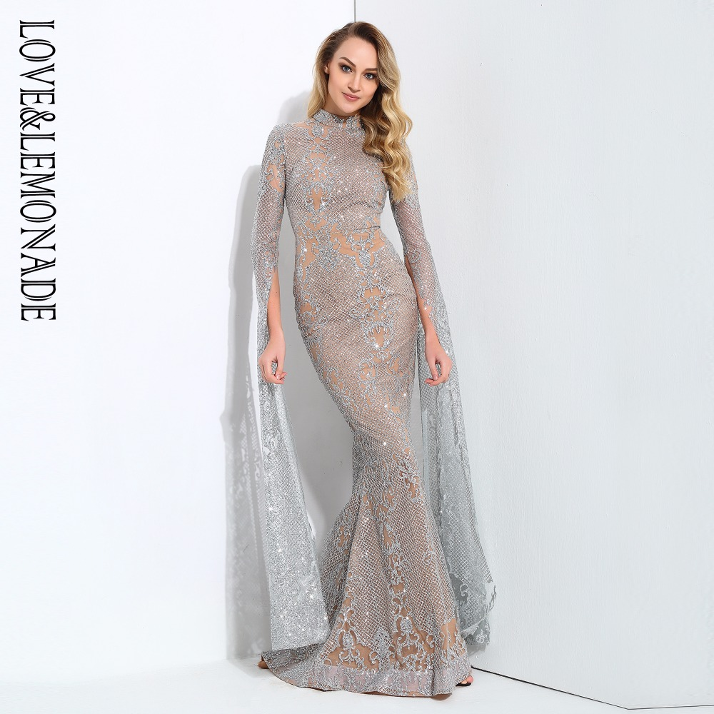 Love Lemonade Cut Out Speaker Long Sleeve Geometry Glitter Long Dress 4COLORS LM0703