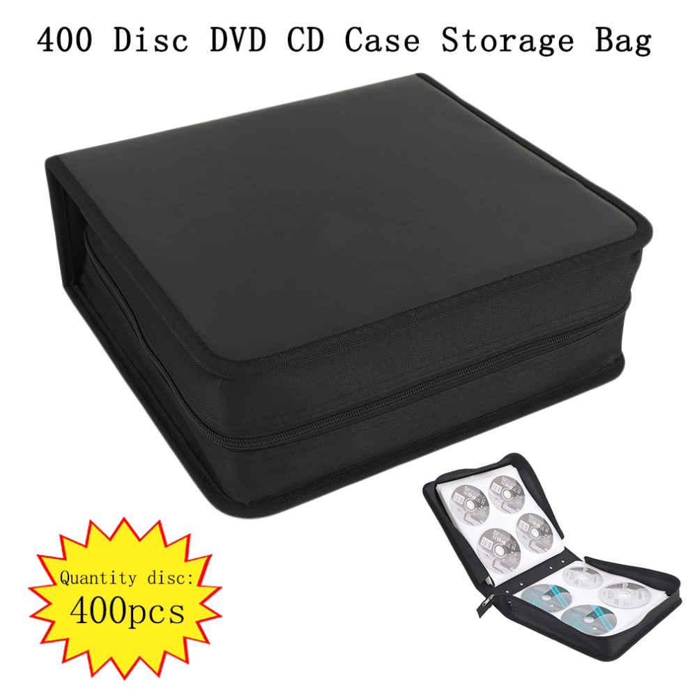 PU Leather 400 Pieces Disc CD DVD Storage Holder Carry Case Bag Organizer Solution Binde ...