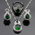 Green Created Emerald White CZ Jewelry Sets Women Silver Color Necklace/Pendant/Earrings/Rings Christmas Gift Free Box