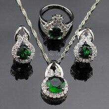 Verde Esmeralda Creado Blanco CZ Sistemas de La Joyería de Las Mujeres Collar de Color Plata/Colgante/Pendientes/Anillos de Regalo de Navidad Del Envío caja