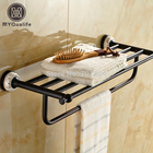 New Arrive Wall Mounted Brass Towel Rack Oil Rubbed Bronze Finished Bathroom Towel Shelf with Towel Bar