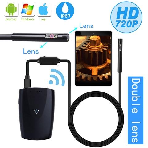 wdlucky lente dupla 6mm camera endoscopio wifi ip67 flexivel a prova dip67 agua inspecao borescope