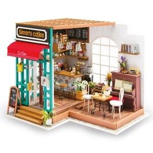 Image 1 - Robotime 아트 인형 집 DIY 미니 하우스 키트 가구와 미니 인형 집 어린이를위한 사이먼의 커피 완구 소녀의 선물 DG109