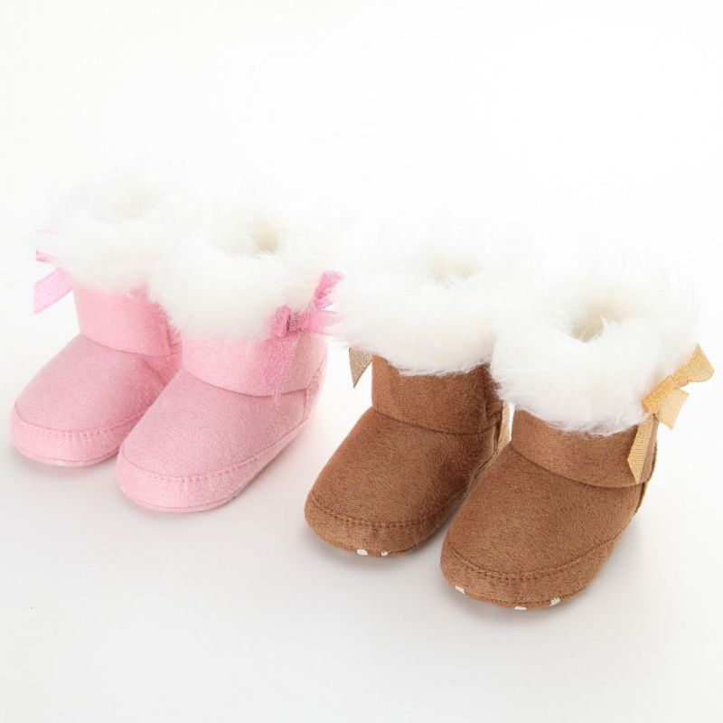 Winter Baby Girls Snow Boots Newborn Infant  Baby Girls Bowknot Soft Crib Sole Boots Toddler Shoes 0-18M