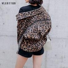 2019 Spring Vintage Leopard Print Denim Jacket Coats Women Tassel Bat Sleeve Short Jean Female Loose Harajuku Outerwear