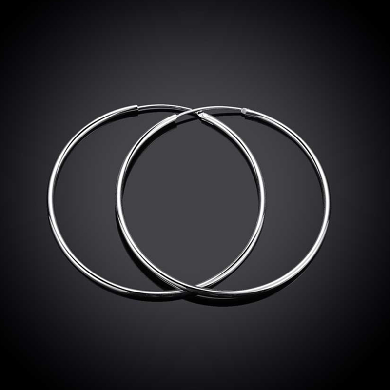 100% 925 Sterling Silver Hoop Earring For Women 50MM Big Round Circle Earrings Jewelry Gift 2