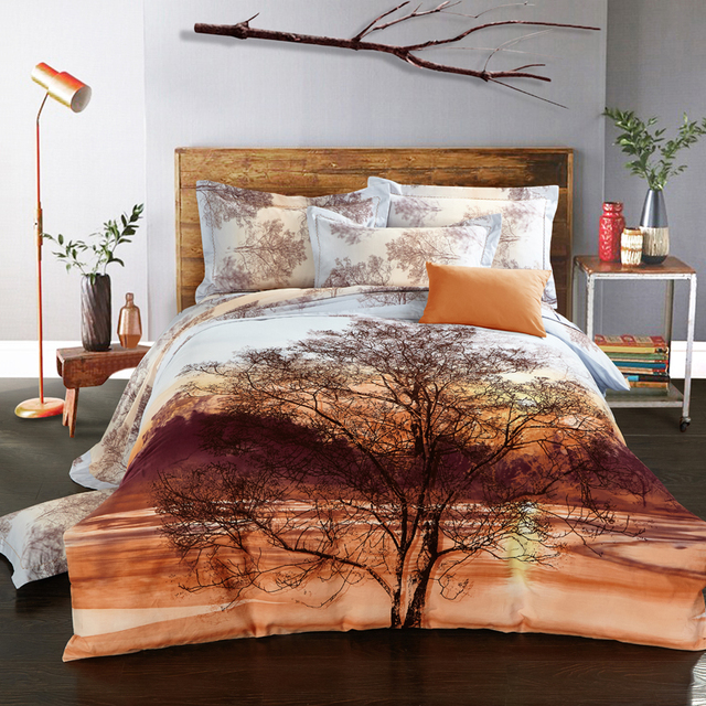 100% Cotton Modern Tree Printing Bedding Sets Queen/King Size Bed Linen Bed  Sheet