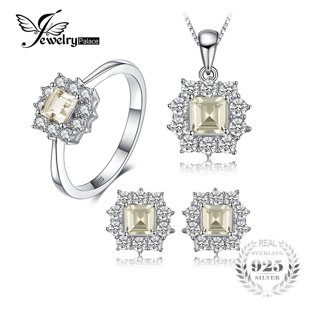 JewelryPalace 2.55ct Natural Lemon Quartz Halo Ring Stud Earrings Pendant Neckalce Chain 45cm 925 Sterling Silver Jewelry Sets тонер картридж panasonic kx fatc506a7 голубой для panasonic kx mc6020ru