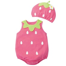 Cute Baby Clothes Cartoon Baby Boy Girl Rompers Cotton Animal And Fruit Pattern Infant Jumpsuit+Hat Set Newborn Baby Costumes S2