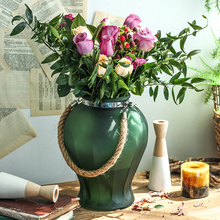 Colored frosted glass Vase Hemp rope vase decoration hydroponic container for Home Restaurant cafe Decoration