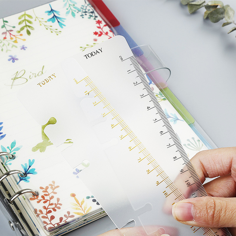 MaoTu Today Loose Leaf Ruler A5 A6 A7 Multi-Functional Bookmark Ruler Divider Index For Spiral Notebook PP Matt Frosted