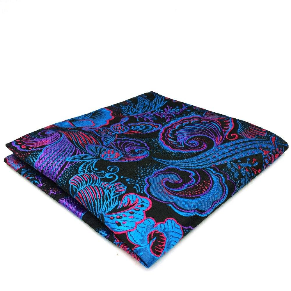 DH13 Multicolor Geometric Pocket Square For Men Silk Wedding Handkerchief Classic Hanky