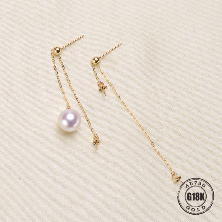 Luxury genuine 18k gold jewelry for women top quality yellow gold earrings Fit Half Hole Pearl DIY AccessoriesLuxury genuine 18k gold jewelry for women top quality yellow gold earrings Fit Half Hole Pearl DIY Accessories