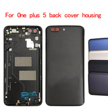 Battery Back Cover Replacement For Oneplus 5 A5000 Housing Case +Power Volume Buttons for one plus 5 battery cover 1pcs