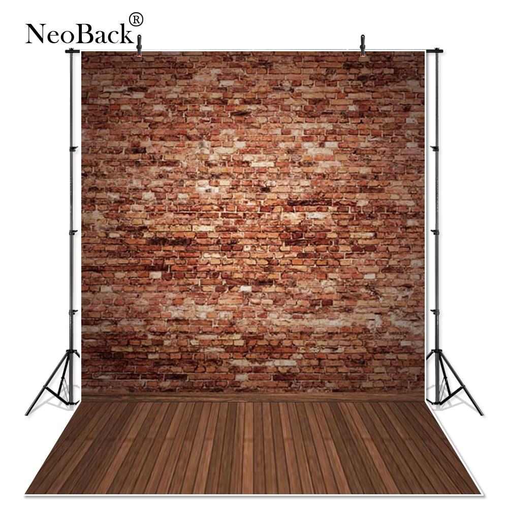 네오 배 5x7ft 비닐 헝겊 갈색 벽돌 나무 바닥 사진 배경 인쇄 된 나무 바닥 어린이 사진 배경 P0453