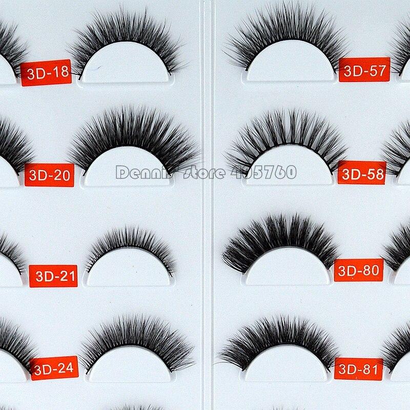 1 Pair 3D Jie Tong Multi Layer Natural Black Mink Hair False Eyelashes Makeup Fake Eye Lashes Beauty Makeup DIY Salon Tip 18-81#