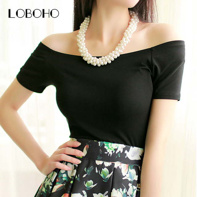 New 2017 Summer Fashion Sexy Off The Shoulder Tops For Women Casual Short Sleeve Cotton T-shirts Black White Red Gray Blue Color