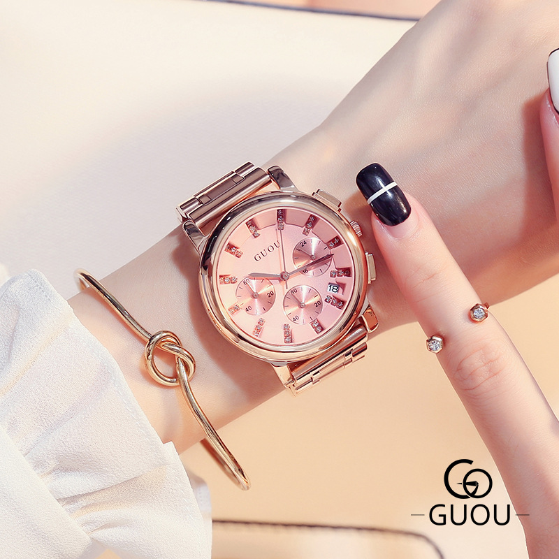 GUOU Brand Exquisite Diamond Watch Women Luxury Steel Bracelet Women's Watches Clock Women reloj mujer saat relogio feminino guou watch luxury rose gold watch women watches multifunction women s watches clock women saat relogio feminino reloj mujer