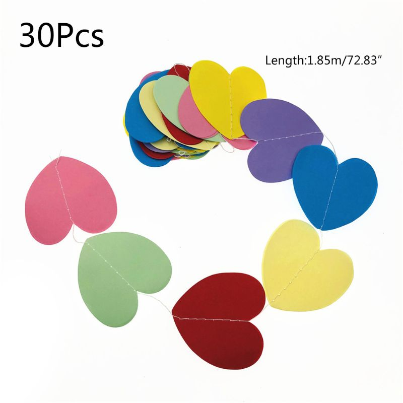 OOTDTY 3D Heart Paper Garland Banner Bunting Baby Shower Wedding Party Birthday Wall Door Hanging Decor Ornaments