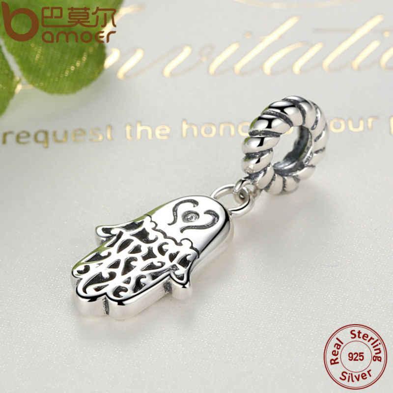 BAMOER 925 стерлингового серебра счастливый Хамса подвески в виде руки Шарм fit браслет и ожерелье для женщин новая коллекция SCC031