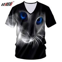 UJWI T-shirt New Deep V Neck Man Short Sleeve 3D Printing A cat with blue eyes lovely Big Size Costume Homme Summer Tee Shirt