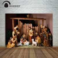 Allenjoy Weihnachten Krippe szene mit figuren Jesus Mary Joseph schafe Jesus geburt dekoration fond studio foto fotografie