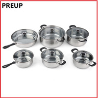 PREUP 12 piece Heat & Break Resistant Stainless Steel Pot Cooker Set Cook Cookware set Pan easy cleaning and care