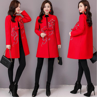 Women's long Cheongsam Tops Chinese style Autumn Winter flower embroidery Jacket Retro Stand Collar tang suit coat