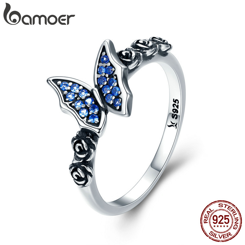 BAMOER Spring Collection 925 Sterling Silver Butterfly & Flower Blue CZ Finger Rings for Women Sterling Silver Jewelry SCR285