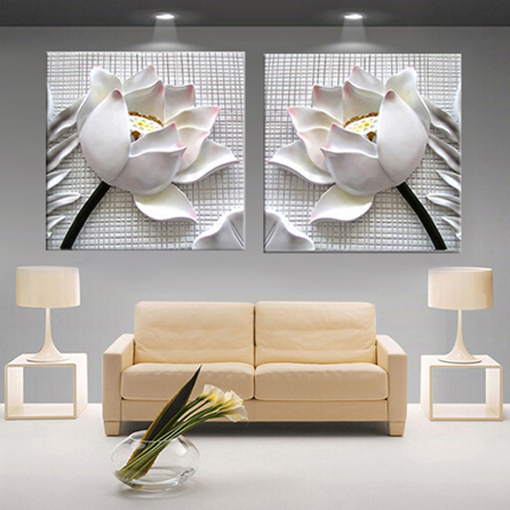 modern 3D white lotus definition pictures canvas Home Decoration living room Wall modular painting Print cuadros(no frame)2pcs