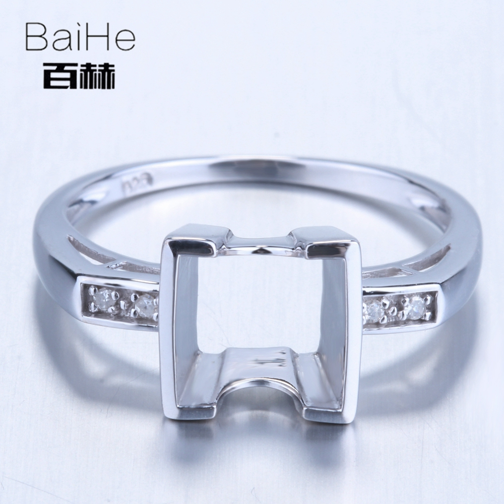 BAIHE Solid 14K White Gold(AU585) Certified Princess Engagement Women Vintage Fine Jewelry Elegant unique Semi Mount Gift Ring  BAIHE Solid 14K White Gold(AU585) Certified Princess Engagement Women Vintage Fine Jewelry Elegant unique Semi Mount Gift Ring