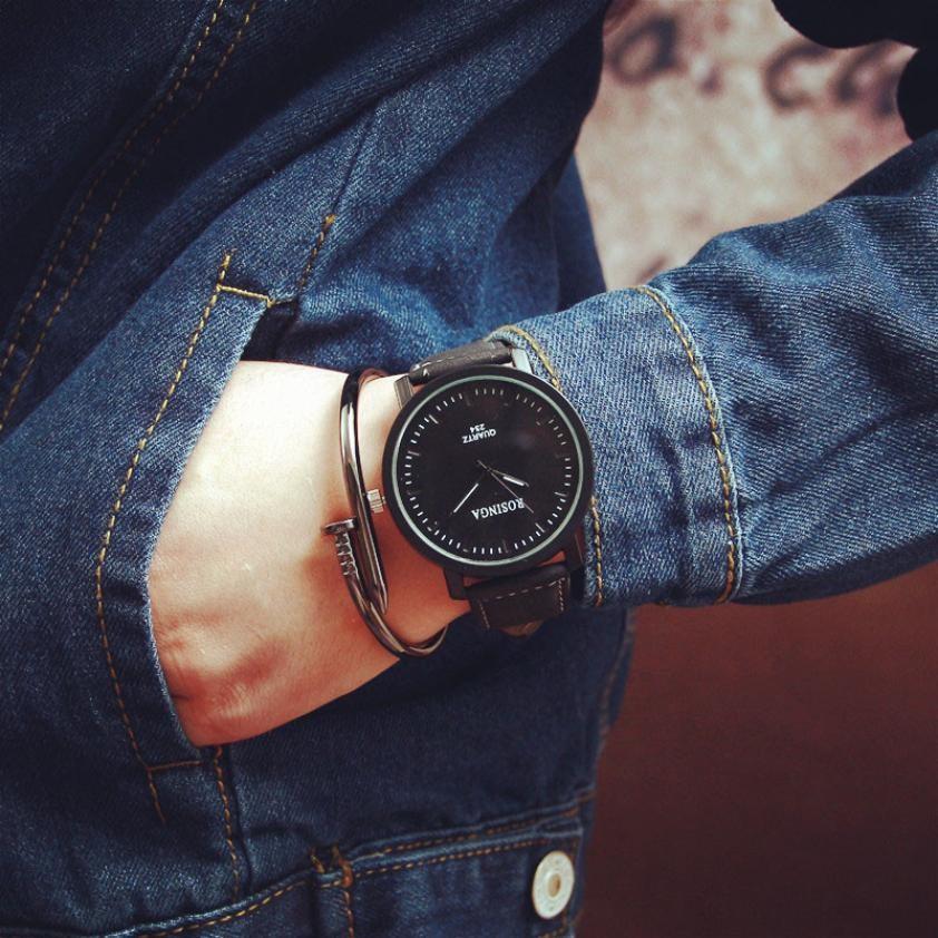 Big Dial Fashion Steel Case Men women Couple Minimalist Leather Quartz analog wrist Watch clock relogio feminino Ladies Watch