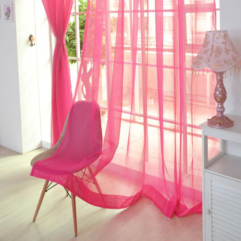 Image 2 - Colors Tulle Translucent Curtain Door Window Curtain Washable Drape Panel Sheer Scarf Valances Home Decoration Curtains-in Curtains from Home & Garden