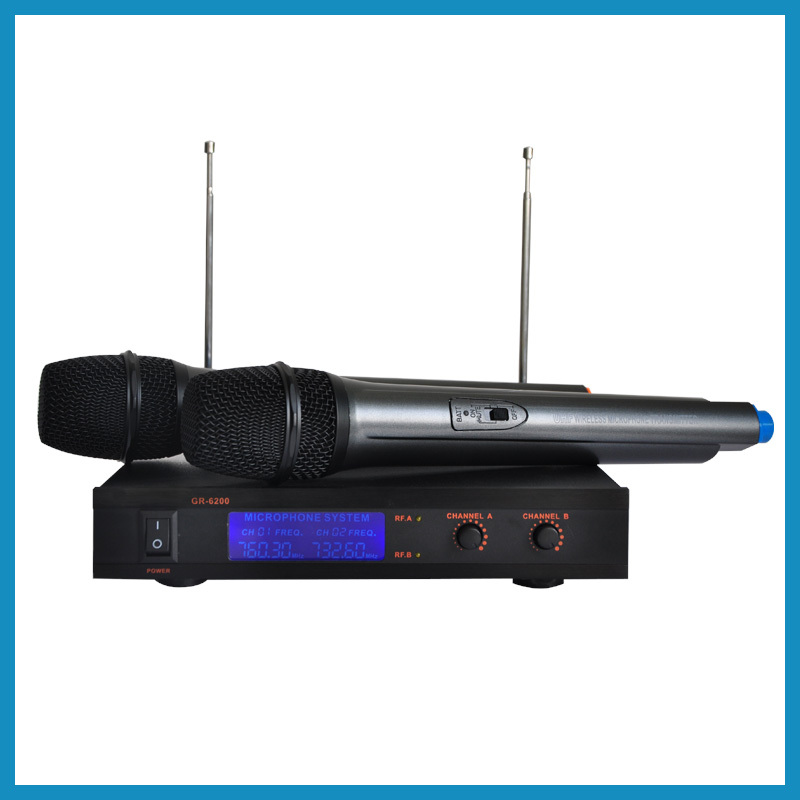 GR-6200 High quality Dual Channel cheap professional ktv karaoke VHF Wireless Microphone system dste for jvc gr d290ah gr df570gr d246 gr d290us gr df590 smart digital 1 5a dual charger compatible bn vf733u battery