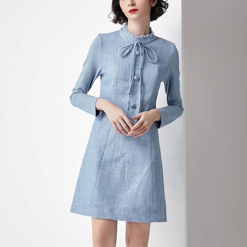 06143adbc3 De Blue Mince Femmes Vertical 2018 Tie Couture Robe Automne Laine Et Avec  Col Nouvelles Bow Tempérament twAqBZ