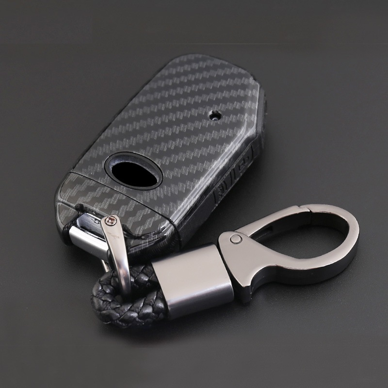 Carbon Fiber ABS Shell+Silicone Cover Remote Key Holder Fob Case&KeyChain For Kia Sportage R 2018