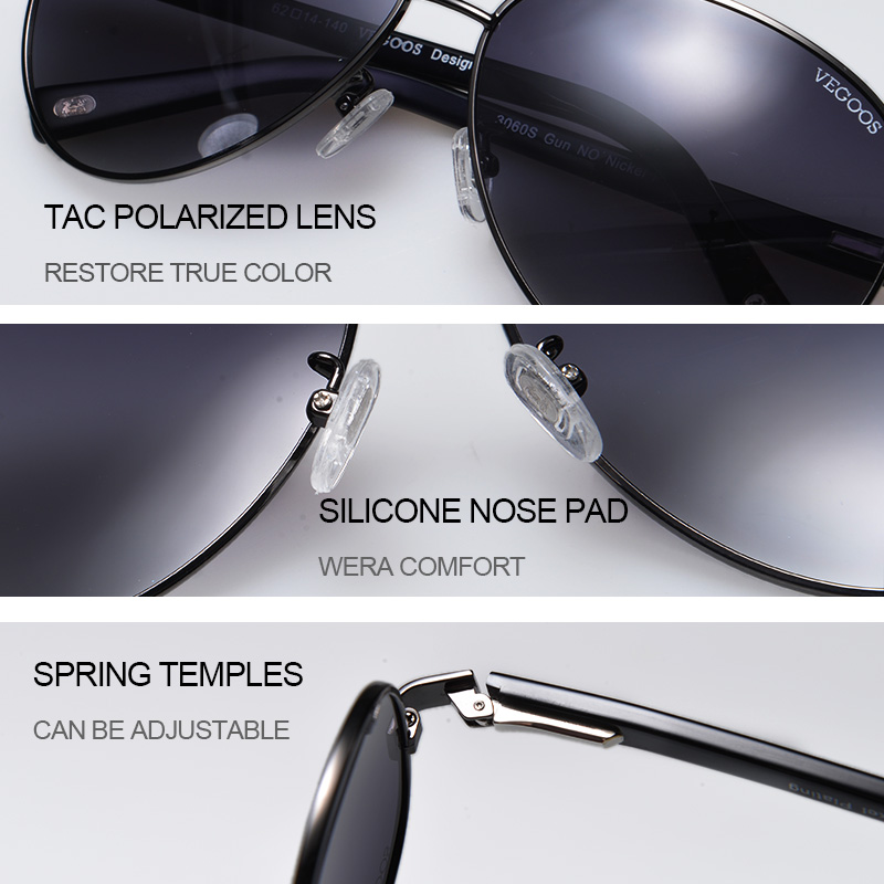 VEGOOS Brand Design Polarized Cool Men Pilots Sunglasses UV Protect Sun Glasses Pilot Big Frame Size L #3025L