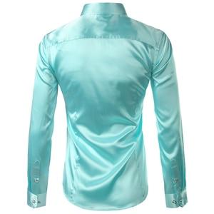Image 3 - Pink Silk Satin Shirt Men 2017 Fashion Long Sleeve Mens Slim Tuxedo Shirts Casual Shiny Emulation Silk Button Down Dress Shirts