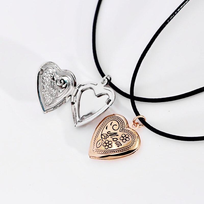 Medallón de moda choker collar colgante con cordón de cuero flor del corazón loc