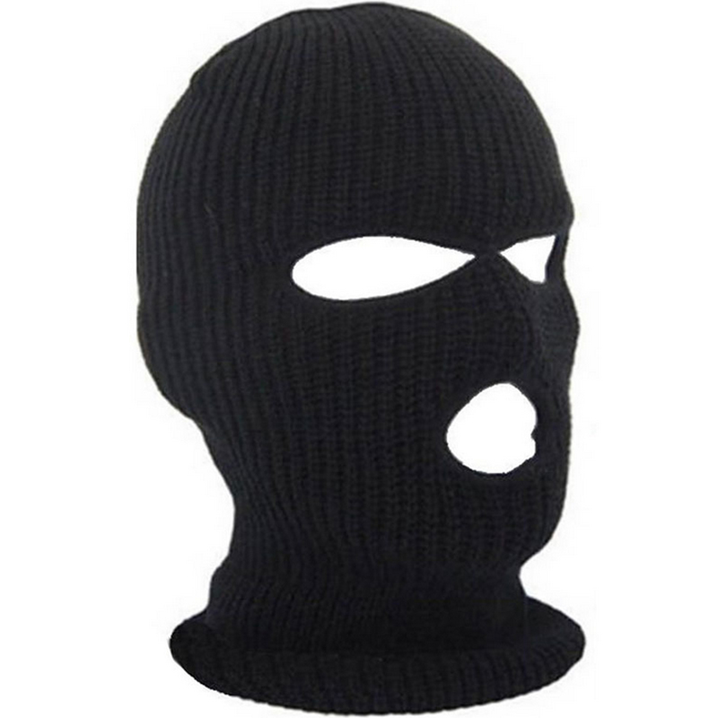 2019 New Full Face Cover Mask Three 3 Hole Balaclava Knit Hat Winter Stretch Snow mask Beanie Hat Cap New Black Warm Face masks(China)