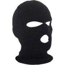 Полнолицевая маска, 3 отверстия, Балаклава, вязаная шапка зима, стрейч, Снежная маска, шапочка, шапка, новинка, Черные Теплые маски для лица