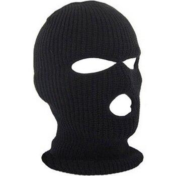 3 Hole Hot Mask Balaclava Black Knit Hat Face Shield Beanie Cap Snow Winter Warm 7G0023 face mask