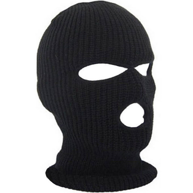 2018 New Full Face Cover Mask Three 3 Hole Balaclava Knit Hat Winter  Stretch Snow mask Beanie Hat Cap New Black Warm Face masks b61612bf69e9