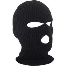 Full Face Mask Cover Drie 3 Gat Bivakmuts Knit Hoed Winter Stretch Sneeuw Masker Beanie Hat Cap Nieuwe Zwarte Warme gezicht Maskers(China)