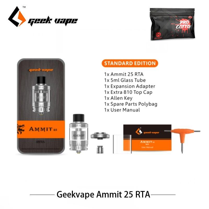 Originale Sigarette Elettroniche Atomizzatore Geekvape Ammit 25 RTA 5 ml Serbatoio Supporto 70 w Sigarette Elettroniche Mod Maggiore 3D Flusso D'aria