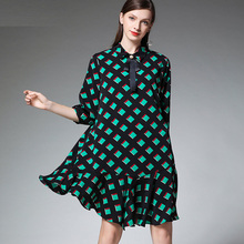 Large size ladies womens fashion plaid Chiffon dresses casual loose high waist Stand neck Elegant dress plus spring new