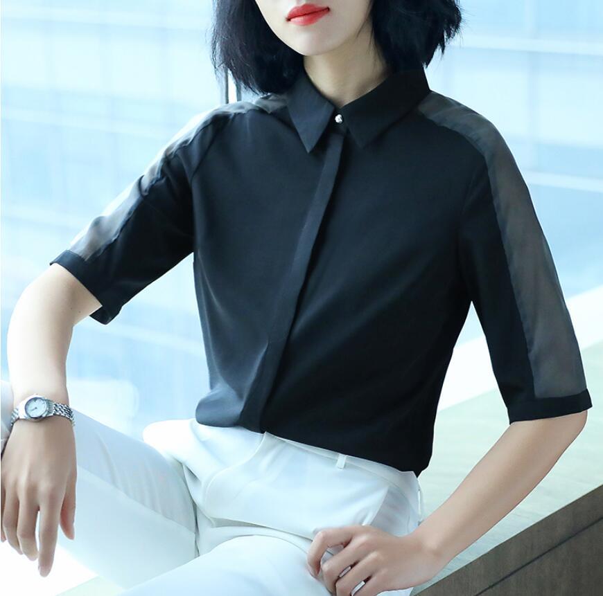 Chemise en mousseline de soie à manches courtes femmes 2019 nouvelle chemise d'été femmes chemise professionnelle mode coréenne dames hauts blouses décontractées minces