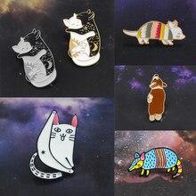Черный и белый пара кошка объятия поцелуй вилки Сексуальная Кошка Бурундук  броненосца эмаль брошь Джинсовый Рюкзак значки с живо. 1dd225f8f75cf