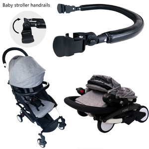 Image 1 - Baby Carriage Bumper Bar PU Leather Multi angle Adjustable Armrest For Babyzen yoyo Stroller Accessories Pram Bar handrail