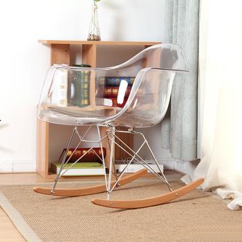 Przezroczysty nowoczesny design jasne z tworzywa sztucznego i drewna fotel bujany Dym akrylowe fotel bujany z podłokietnikiem Z tworzywa sztucznego fotel bujany tanie i dobre opinie Meble do salonu Szezlong Meble do domu As Picture Minimalistyczny nowoczesny ZUCZUG China Nowoczesne Y-025R